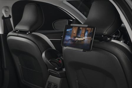 Multi-function base holder on headrest with tablet holder